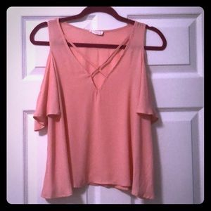 Pink Lush Cold Shoulder top